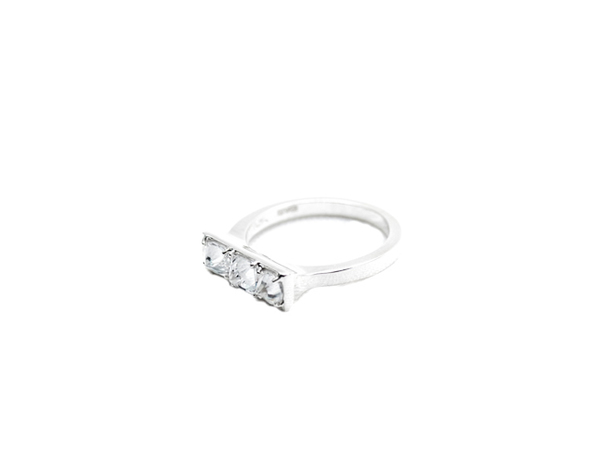 E.M. Silver and 3 Stone Bar Ring