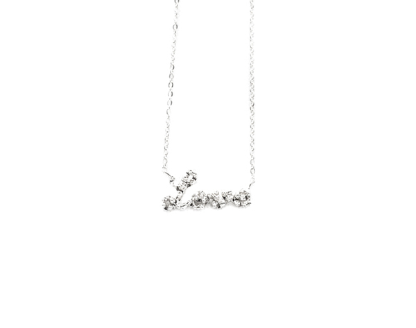 E.M. Silver Textured Cursive Love Necklace