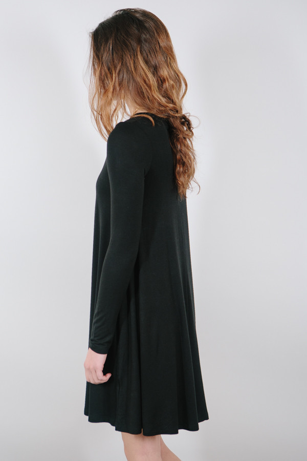 BLQ Basiq Long Sleeve Swing Dress / Black