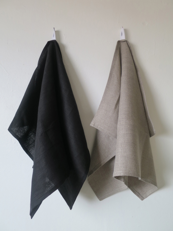 Lissu Linen Tea Towel Set - Natural + Black
