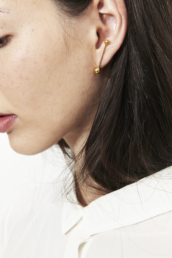 Katrine Kristensen Gold Bubble Single Sunray Earring