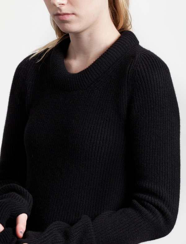 Lemaire Round Neck Rib Sweater Black