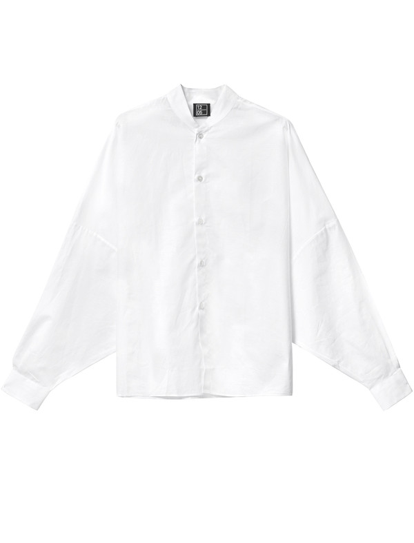 1205 Shawl Collar Shirt White