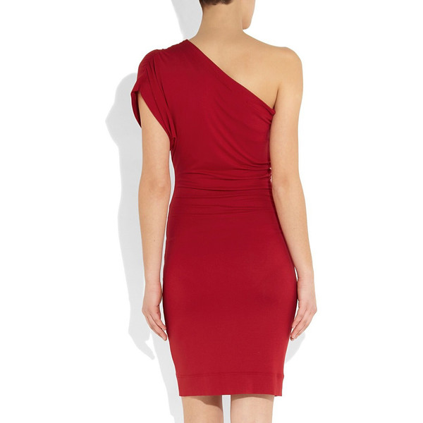 One shoulder stretch jersey dress