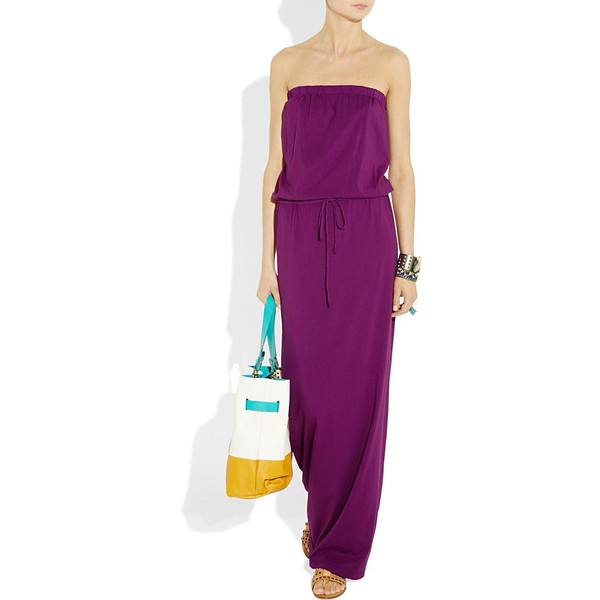 Purple strapless jersey maxi dress