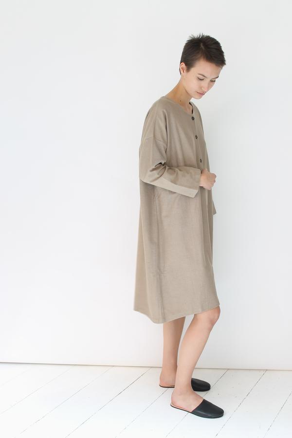 Revisited sweatshirt button up dress | tan