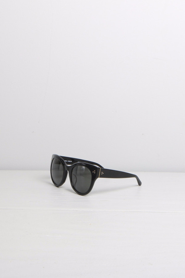 Linda Farrow Thick Rimmed Cat-Eye Black Sunglasses