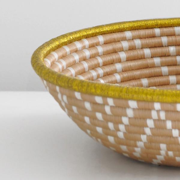 Indego Africa GOLD & NATURAL PLATEAU BASKET