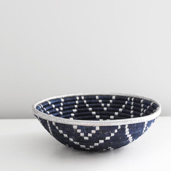 Indego Africa Navy Blue & Silver Plateau Basket