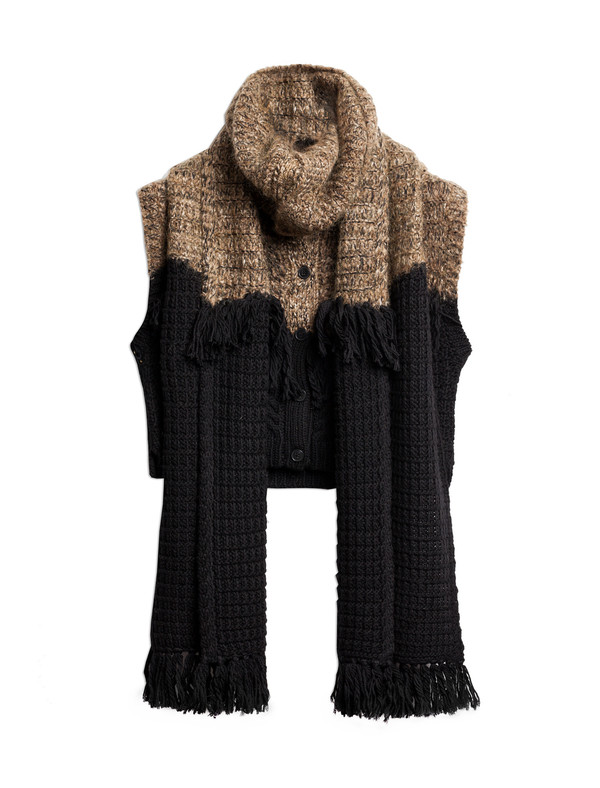 Thakoon Addition Womens Fringe Scarf Cardigan