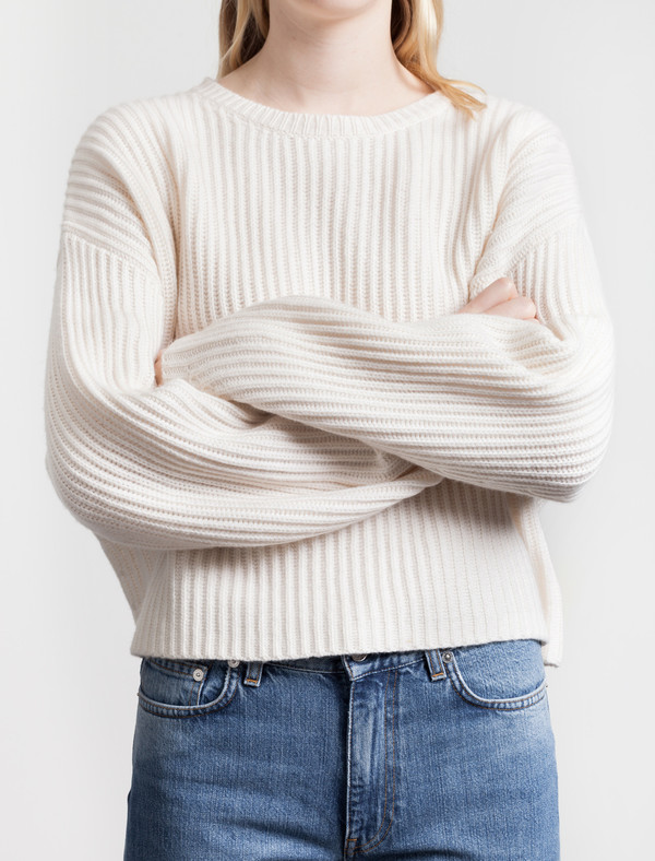 Rib Crop Pullover New White