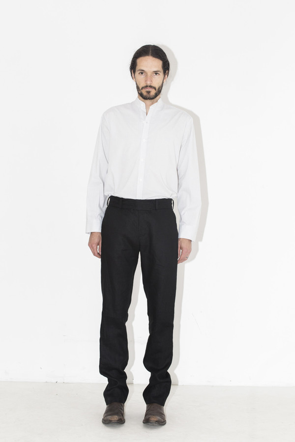 Men's Assembly New York Black Linen Elastic Pant