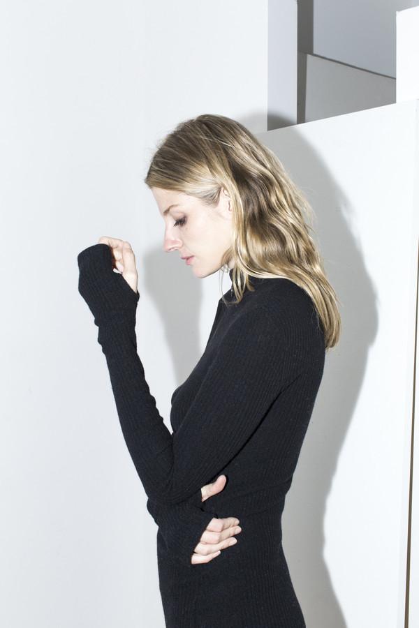 Assembly New York Black Ribbed Maxi Dress