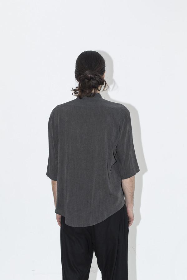 Men's Assembly New York Grey Gauze No Collar Shirt