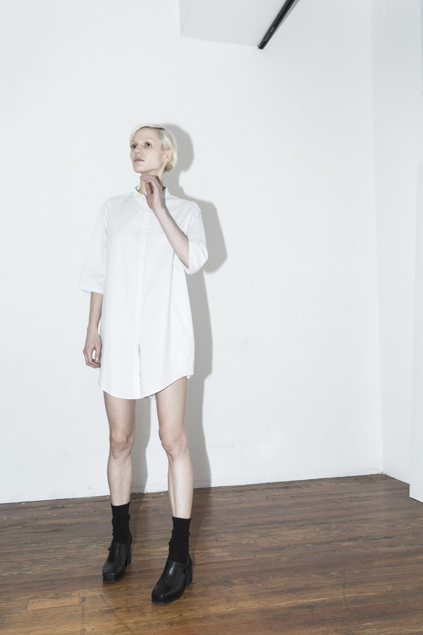 Assembly New York Pinstripe No Collar Dress