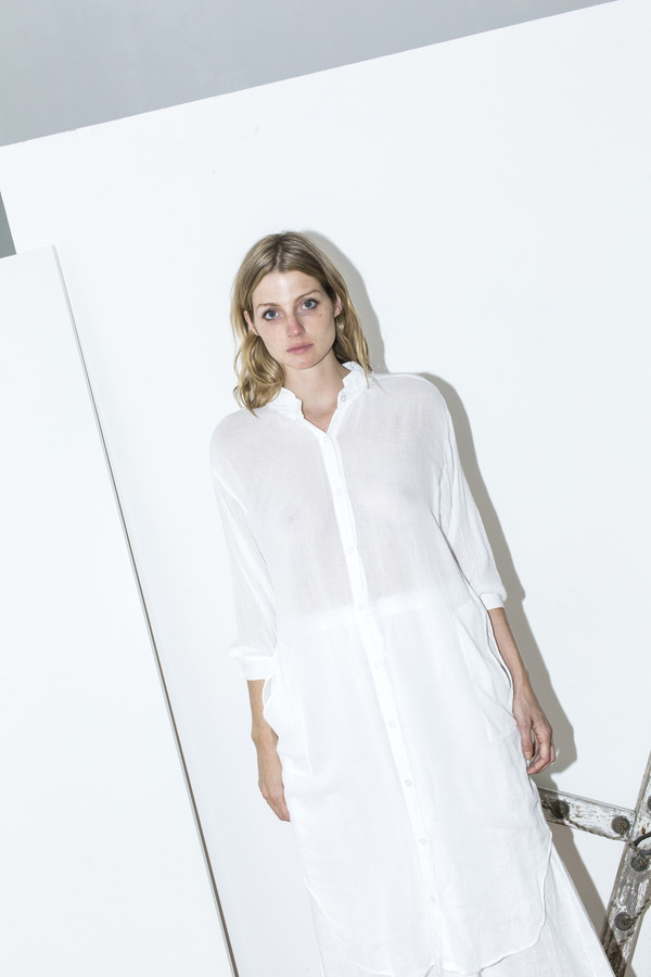 Black Crane White Double Collar Dress