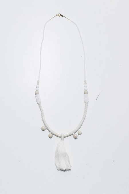 Ora-C Dom White Large Middle Tassel Necklace