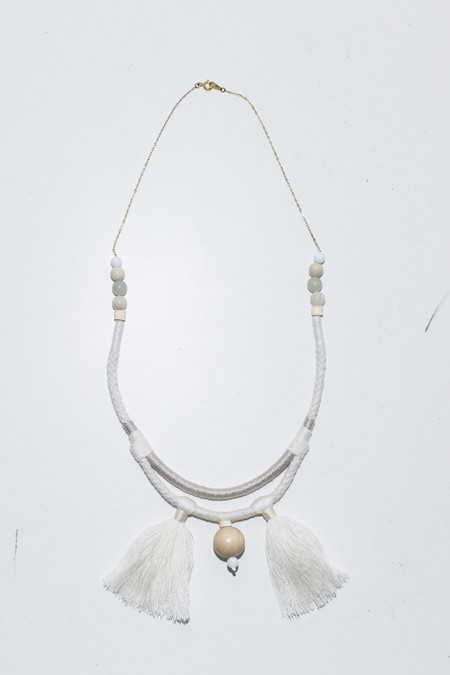 Ora-C Valeria White Double Cords 2 Tassel Necklace