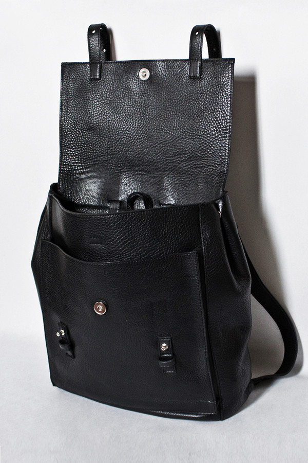 Le Bas Black Leather Harness Backpack