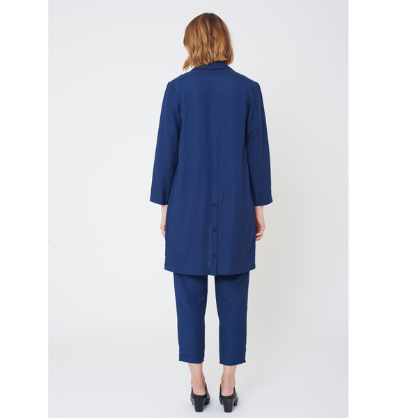 First Rite Mid Length Overcoat Lapis