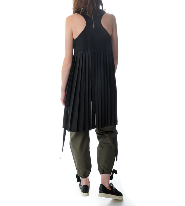 Tim Coppens Racerback Tank with Silk Pleated Back