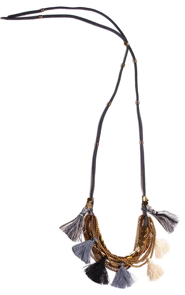 Serefina Dancing Tassels Necklace Grey
