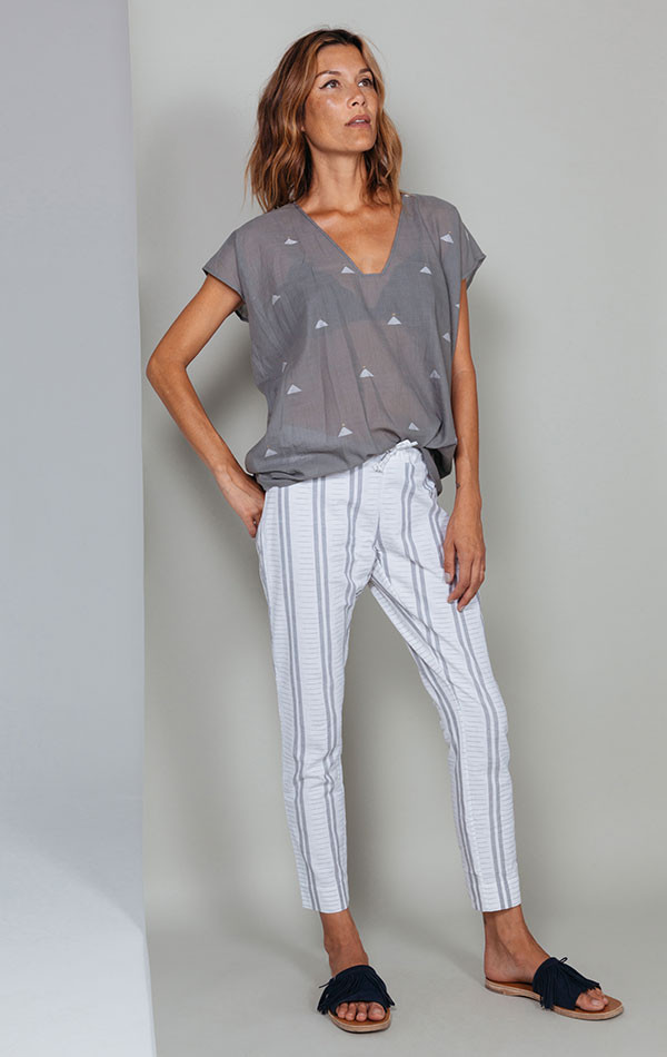 Two White and greige stripe Ikat pant