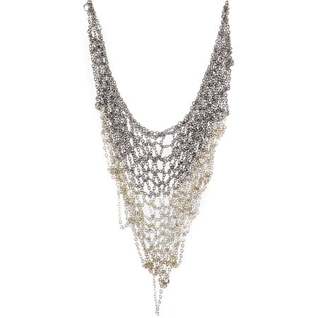 Ka'kia V-Mesh Necklace - White/Silver