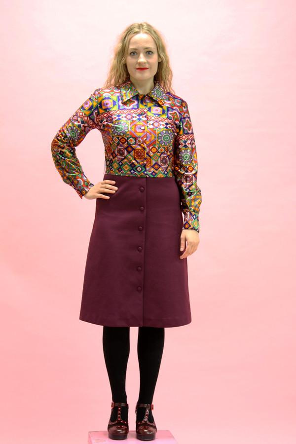 Steel Magnolias Vintage Psychedelic Purple Shirt Dress