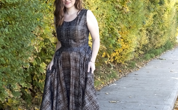 White Elephant Vintage Brown Plaid Dress with Full Skirt