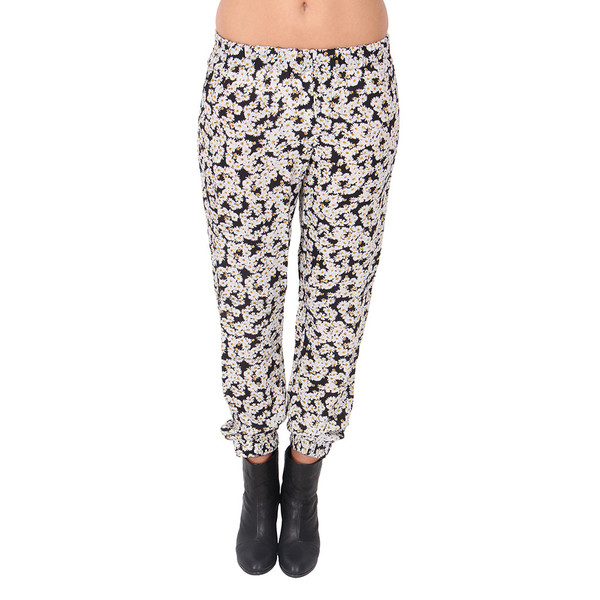 Sea Daisy Print Silk Track Pants