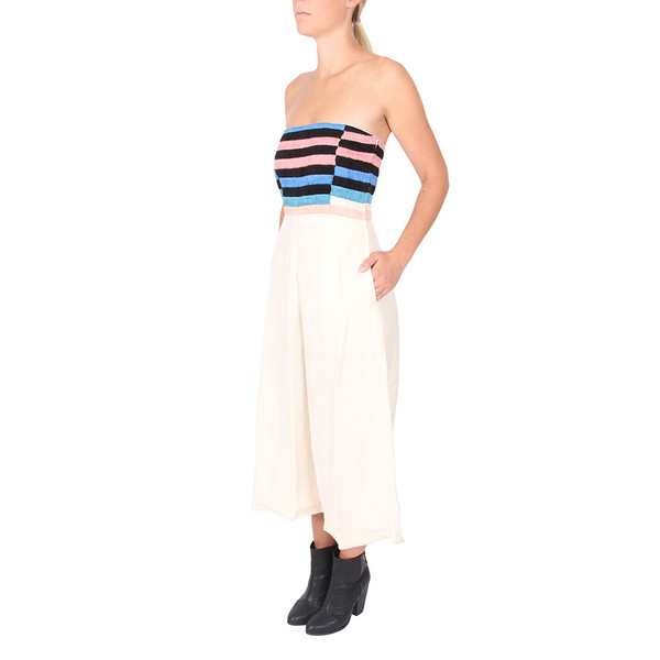 Mara Hoffman Linen Embroidered Strapless Jumpsuit