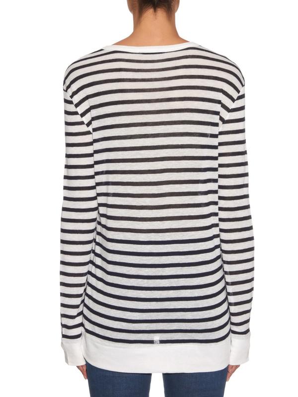 T By Alexander Wang Stripe Linen Long Sleeve Top