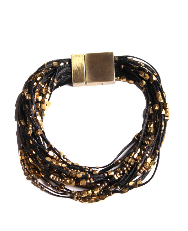 Serefina Glistening Strands Magnetic Cuff Black