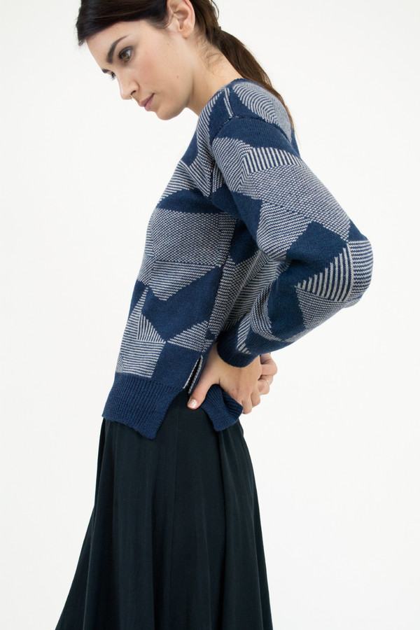 Micaela Greg Moonlight Blue Spectrum Sweater