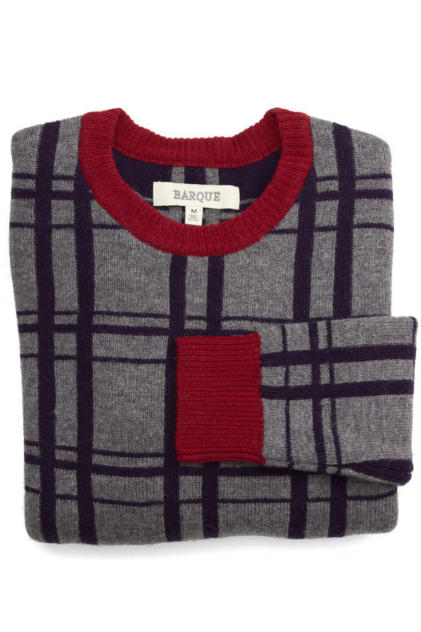 Men's Barque Contrast Check Sweater