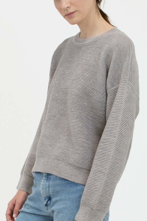 Micaela Greg Dove Grey Ripple Sweater