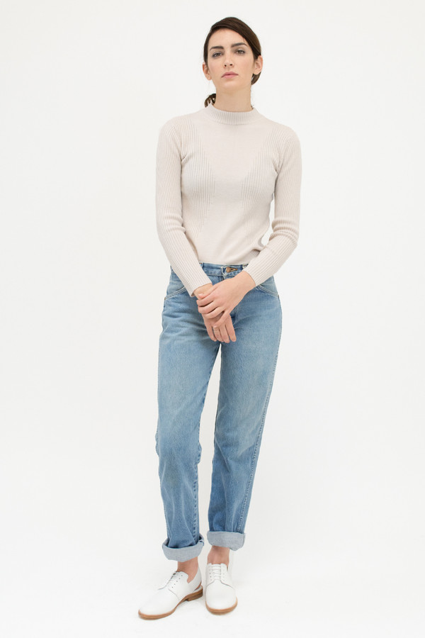 Micaela Greg Cream Rib Turtleneck