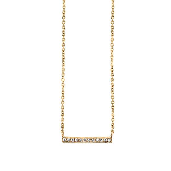 SYDNEY EVAN GOLD + MICROPAVÉ DIAMOND SHORT BAR NECKLACE