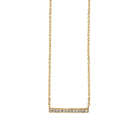 SYDNEY EVAN GOLD + MICROPAVÉ DIAMOND SHORT BAR NECKLACE