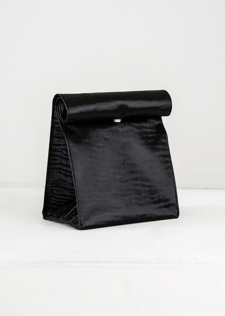 S M K Black Velvet Foldover Bag