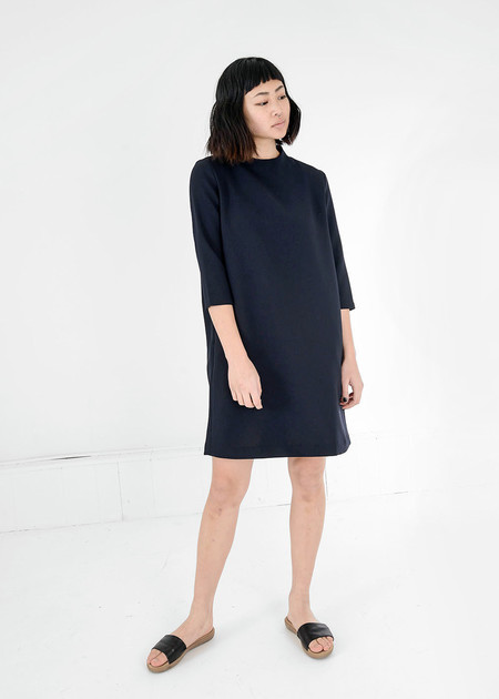 KAAREM Black Pure 3/4 Sleeve Mockneck Dress