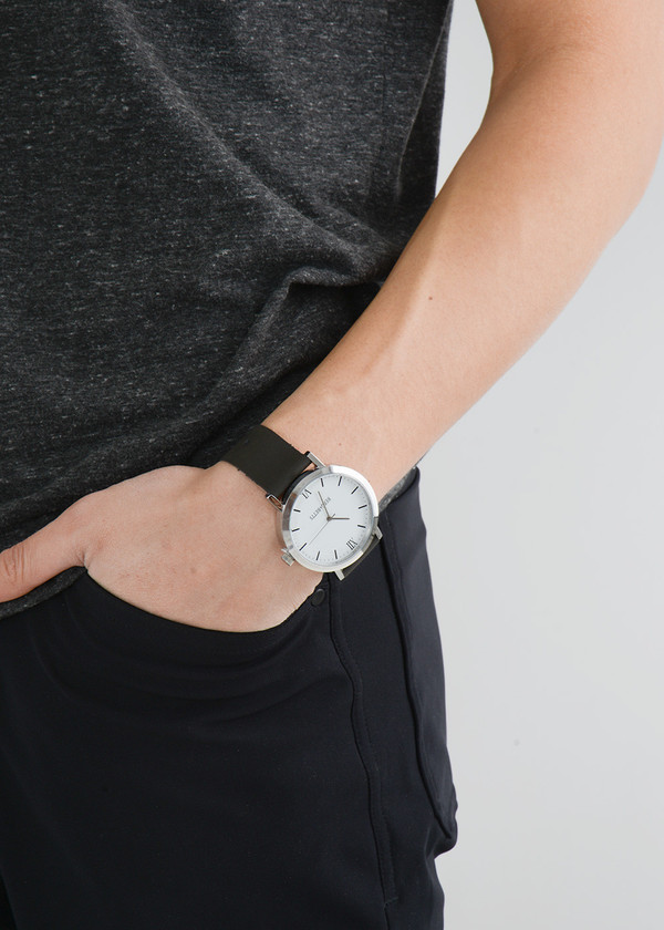 Berg + Betts Silver Round Watch in Slate Grey