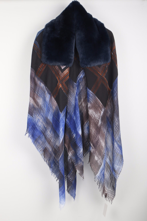 Richiami Icon Fur Stole Navy