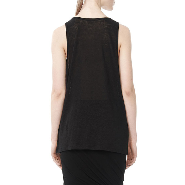 T By Alexander Wang LINEN TANK TOP - BLACK
