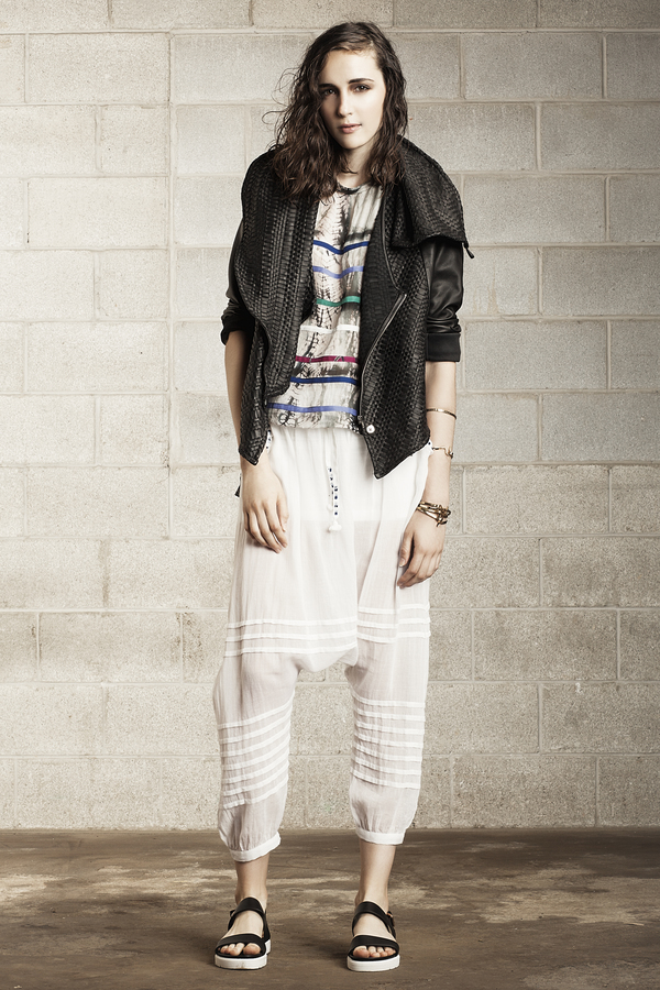 Laura Siegel Charcoal Woven Leather Jacket