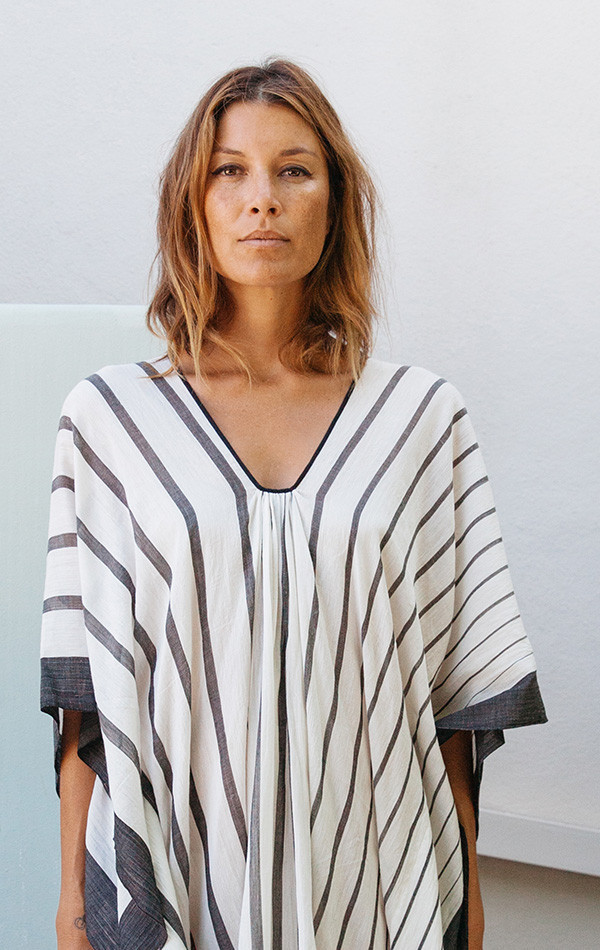Two black and white vertical stripe caftan