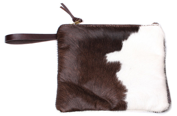 Minnie + George Calf Hair Zip in Dark Brown