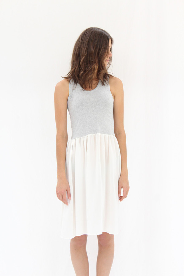 Lina Rennell Gravel Tank Dress Grey & White