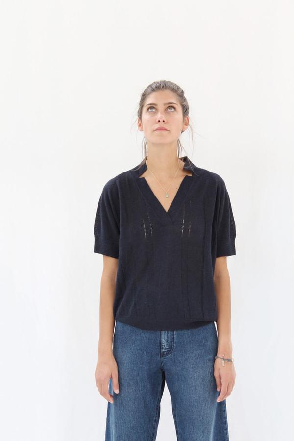 Rachel Comey Knit Polo Navy